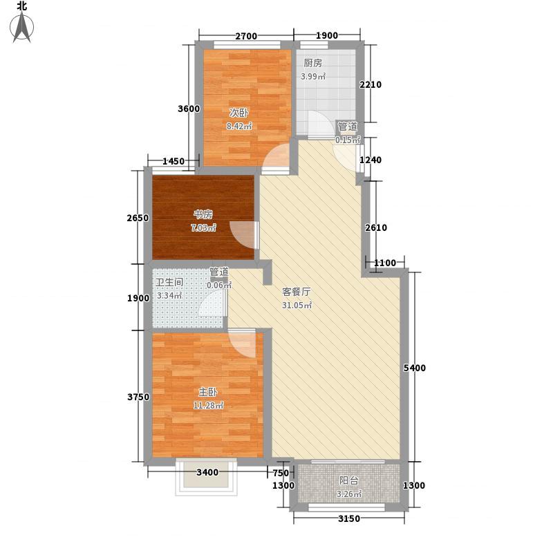 首尔甜城5.00㎡二期九里香堤北区E1户型3室2厅1卫1厨