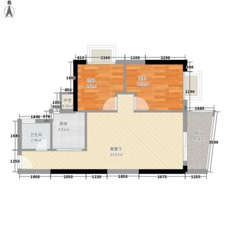 聚富花园2室1厅1卫1厨85.00㎡户型图