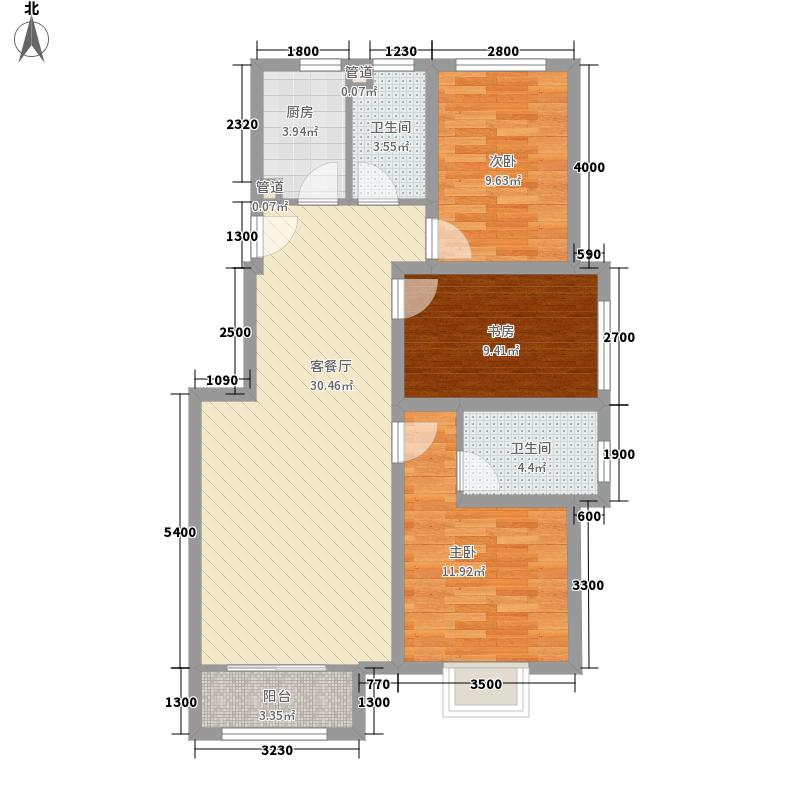 首尔甜城11.00㎡二期九里香堤北区D2户型3室2厅2卫1厨