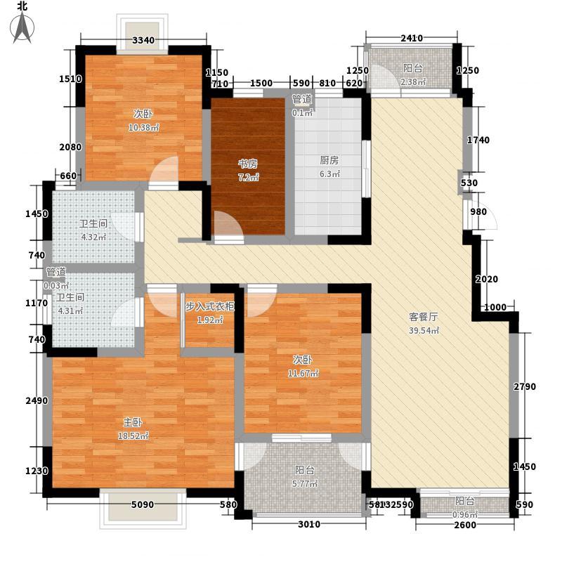 西郡188花园164.91㎡G端户型4室2厅2卫1厨