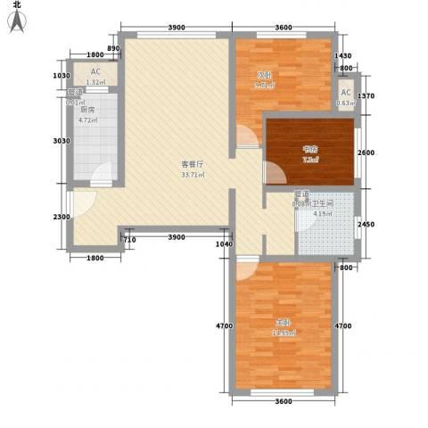 首尔甜城3室1厅1卫1厨76.67㎡户型图