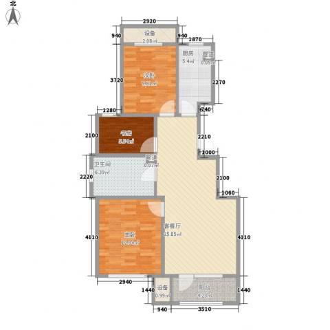 首开香溪郡3室1厅1卫1厨90.00㎡户型图
