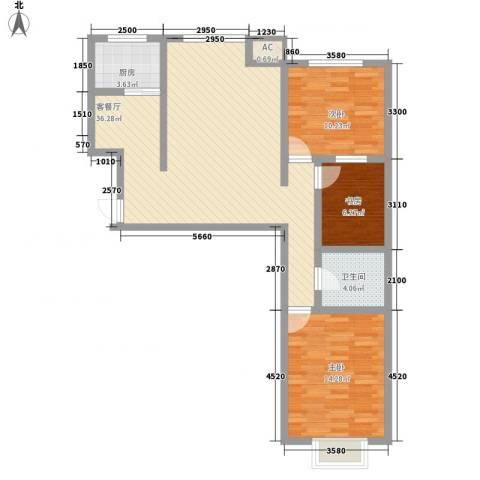 西岸国际3室1厅1卫1厨106.00㎡户型图