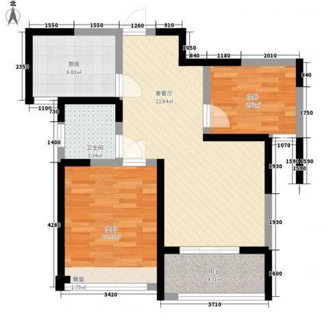 鸿泰嘉园三期2室1厅1卫1厨82.00㎡户型图