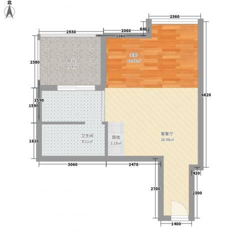 北美时光1厅1卫0厨59.00㎡户型图