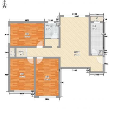 首尔甜城3室1厅1卫1厨125.00㎡户型图
