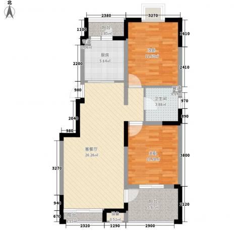 西郡188花园2室1厅1卫1厨98.00㎡户型图