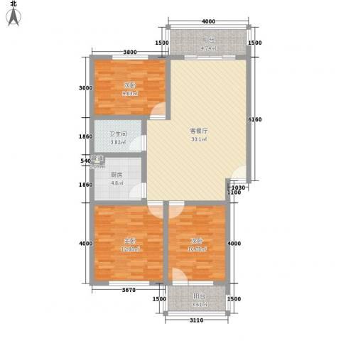 古镇庭苑3室1厅1卫1厨80.65㎡户型图