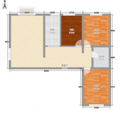 西岸国际3室1厅1卫1厨120.00㎡户型图