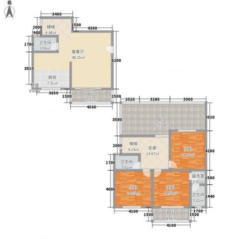 古镇庭苑3室1厅3卫0厨156.40㎡户型图