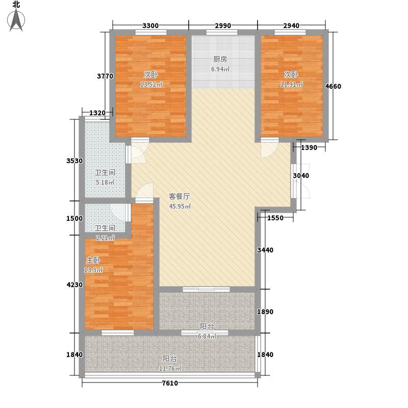 凤凰城134.40㎡3#5#-C户型3室2厅2卫