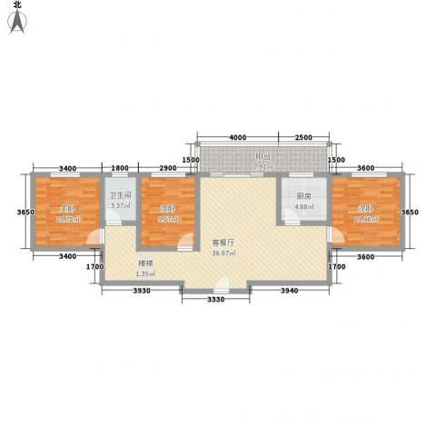 古镇庭苑3室1厅1卫1厨83.53㎡户型图
