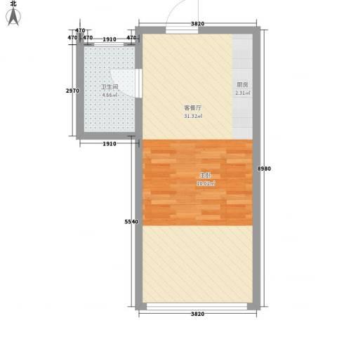 北美时光1厅1卫0厨50.00㎡户型图