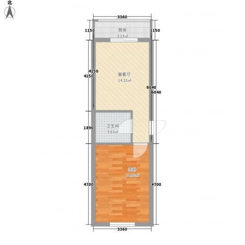 亲亲家园1室1厅1卫1厨50.00㎡户型图