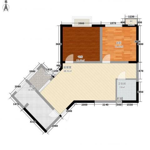 未央湖畔2室0厅1卫1厨89.00㎡户型图