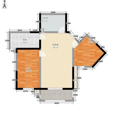 未央湖畔2室0厅1卫1厨102.00㎡户型图