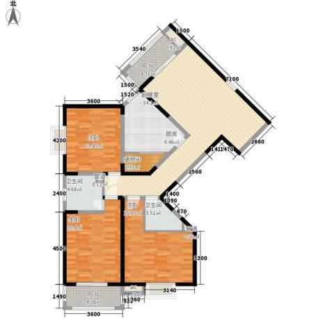 未央湖畔3室0厅2卫1厨147.00㎡户型图