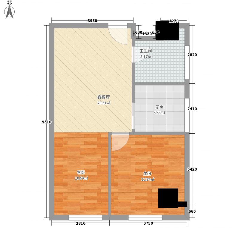 中百城市广场75.21㎡4#楼1户型2室1厅1卫1厨