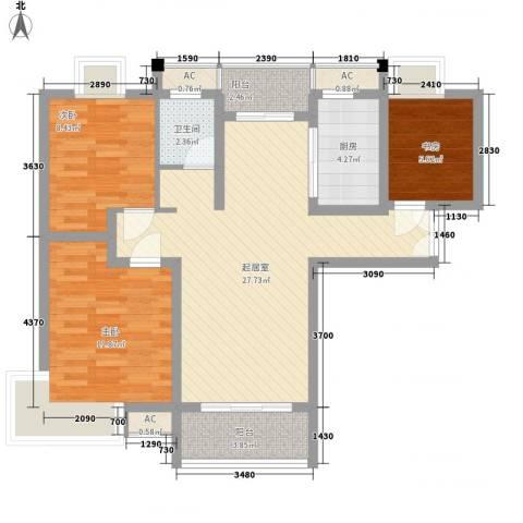 中邦城市花园3室0厅1卫1厨103.00㎡户型图