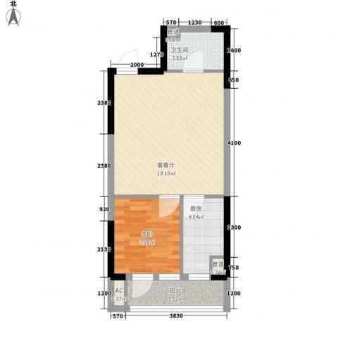 名流印象二期1室1厅1卫1厨43.44㎡户型图