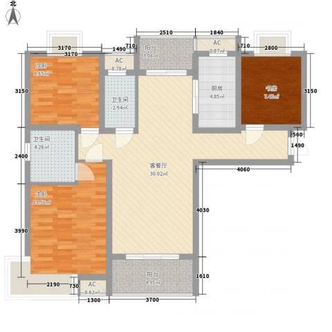 中邦城市花园3室1厅2卫1厨121.00㎡户型图