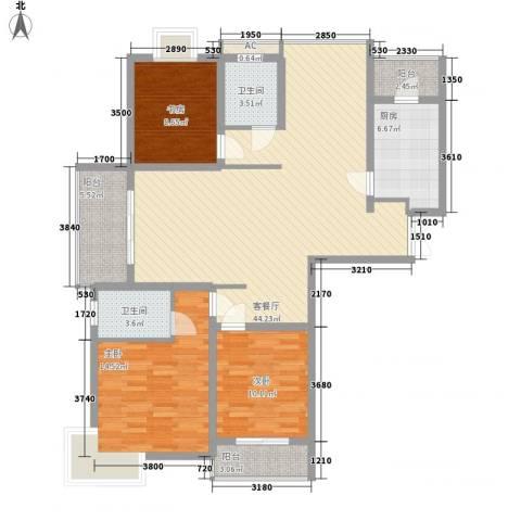 中邦城市花园3室1厅2卫1厨147.00㎡户型图
