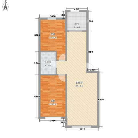 亲亲家园2室1厅1卫1厨96.00㎡户型图