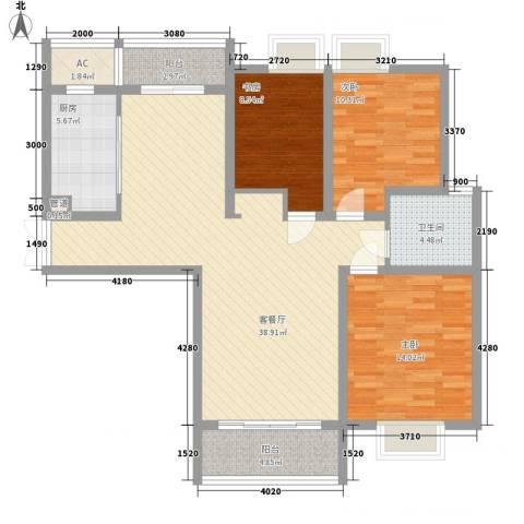 中邦城市花园3室1厅1卫1厨132.00㎡户型图