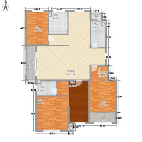 海源丽都3室1厅2卫1厨197.00㎡户型图