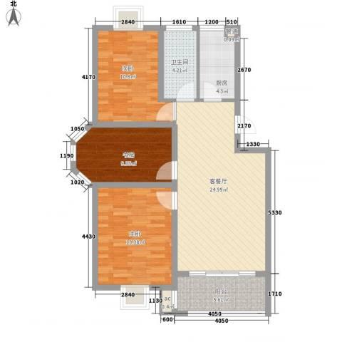 榕侨翡翠湾3室1厅1卫1厨105.00㎡户型图