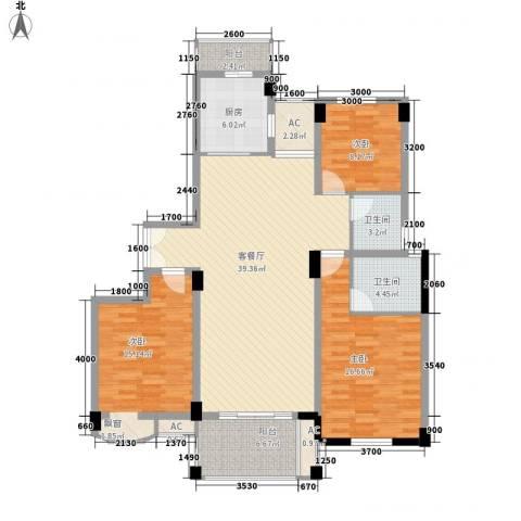BOBO城3室1厅2卫1厨141.00㎡户型图
