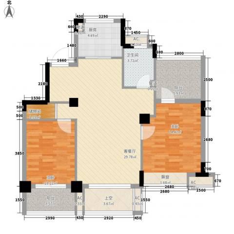 水岸瑶琳2室1厅1卫1厨115.00㎡户型图