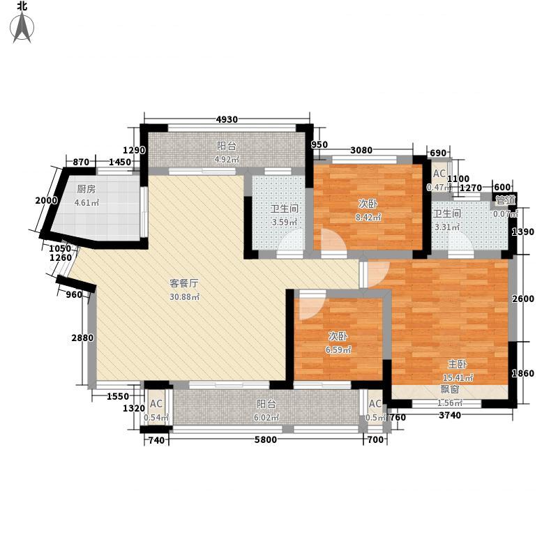 湘银星城126.00㎡E户型3室1厅1卫1厨
