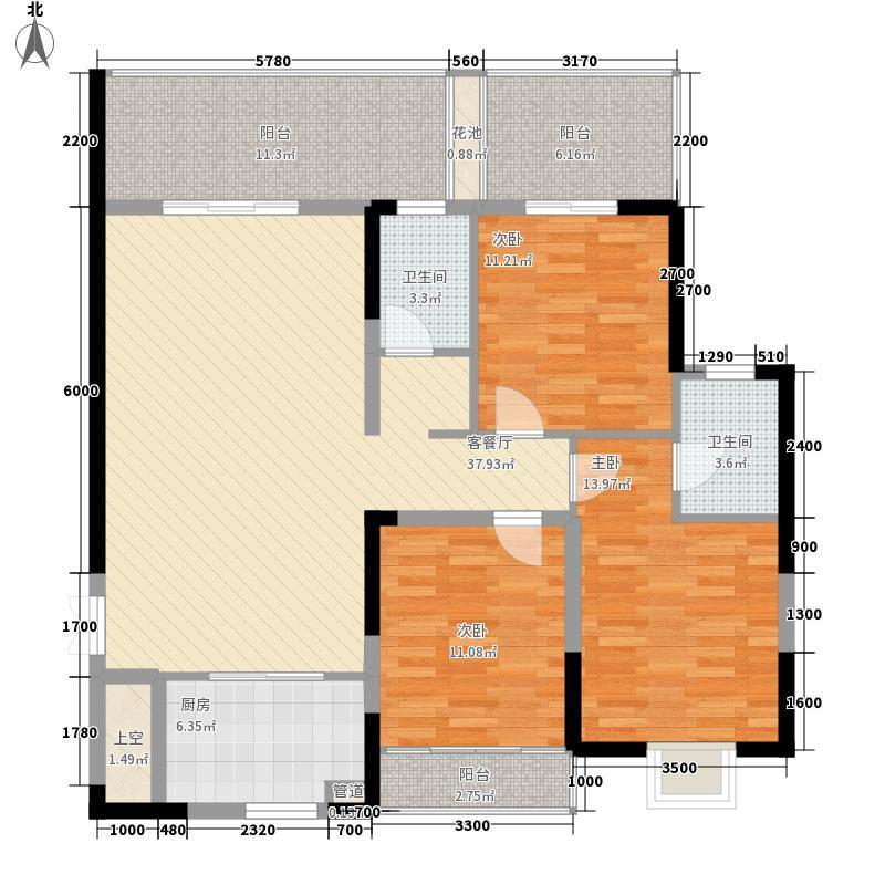 金域中央三期华府136.01㎡金域中央三期华府户型图一期A户型3室2厅2卫1厨户型3室2厅2卫1厨
