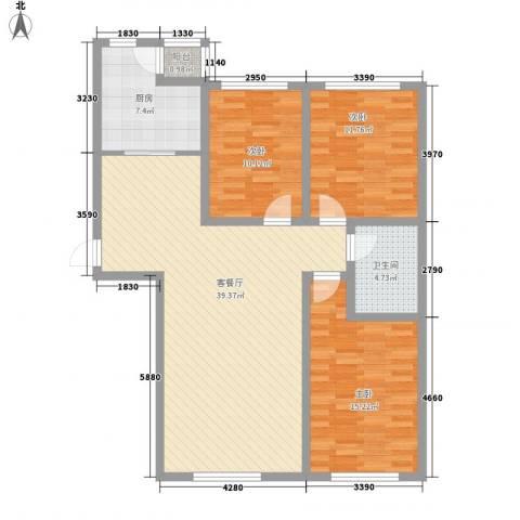 高格蓝湾3室1厅1卫1厨128.00㎡户型图