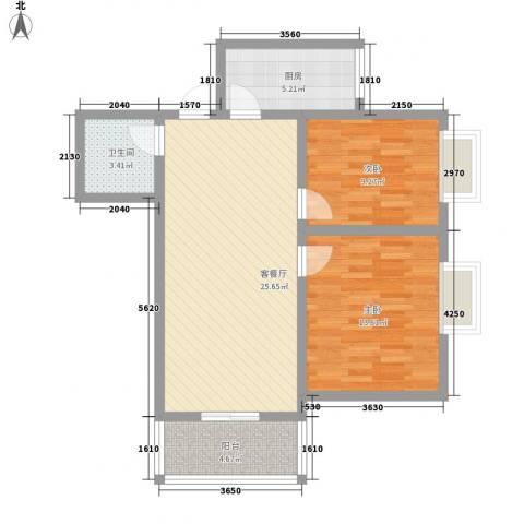 综艺曼哈顿时代2室1厅1卫1厨90.00㎡户型图