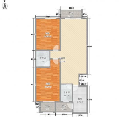 天水丽城二期2室1厅2卫1厨85.50㎡户型图