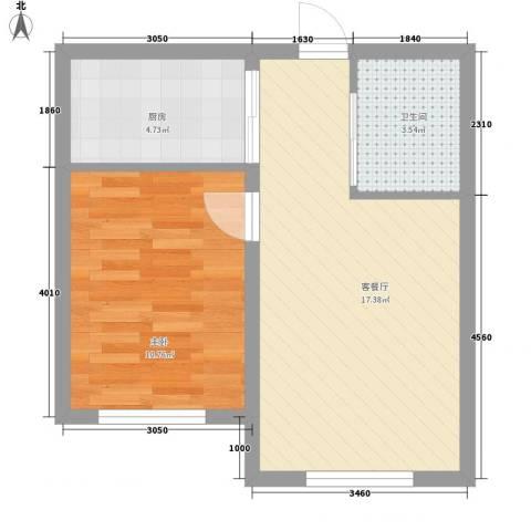 高格蓝湾1室1厅1卫1厨53.00㎡户型图