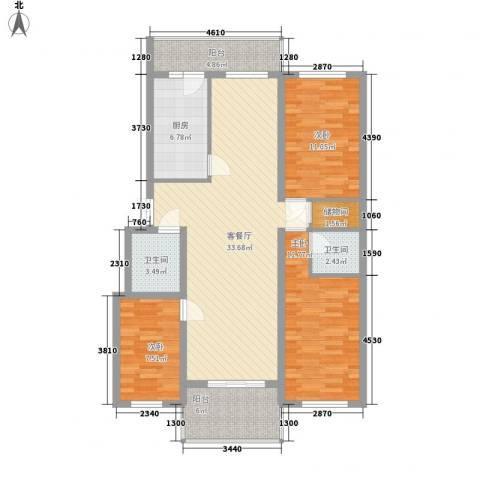 风车小镇3室1厅2卫1厨129.00㎡户型图