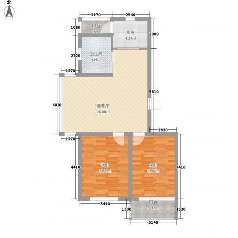 高格蓝湾2室1厅1卫1厨95.00㎡户型图
