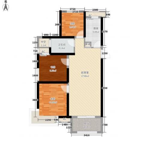 城建琥珀五环城3室0厅1卫1厨106.00㎡户型图
