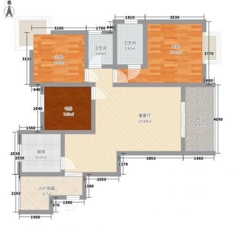 世隆华都3室1厅2卫1厨118.00㎡户型图