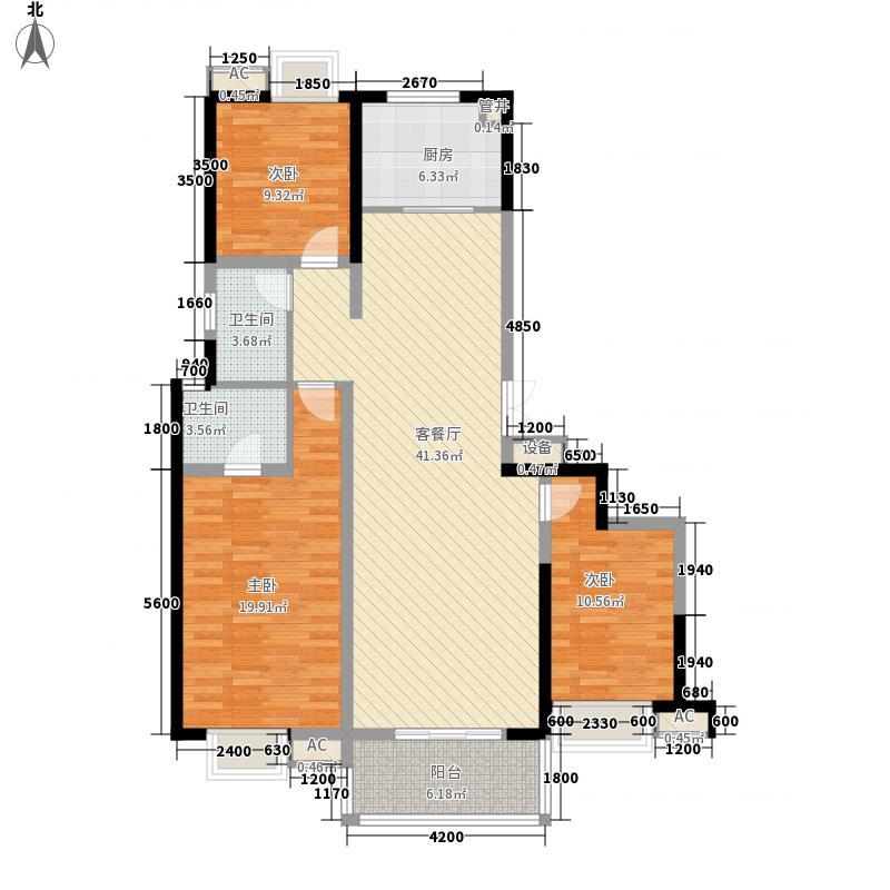 智慧公馆153.54㎡B2户型3室2厅2卫1厨