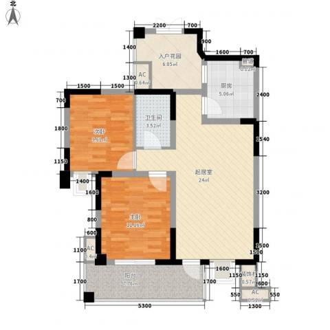 二月海2室0厅1卫1厨101.00㎡户型图