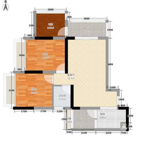 环球时代广场3室1厅1卫1厨75.00㎡户型图
