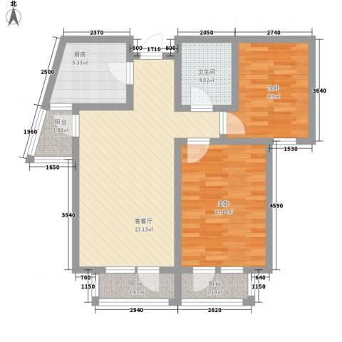 综艺曼哈顿时代2室1厅1卫1厨86.00㎡户型图