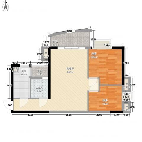 富力朗逸轩2室1厅1卫1厨75.00㎡户型图