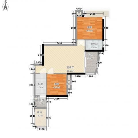 富力朗逸轩2室1厅1卫1厨72.00㎡户型图