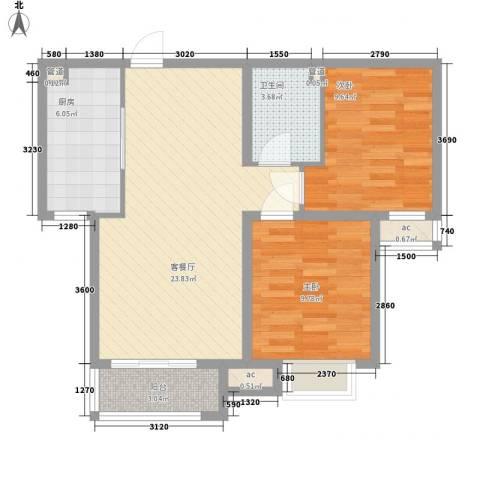 馨鑫嘉园2室1厅1卫1厨82.00㎡户型图