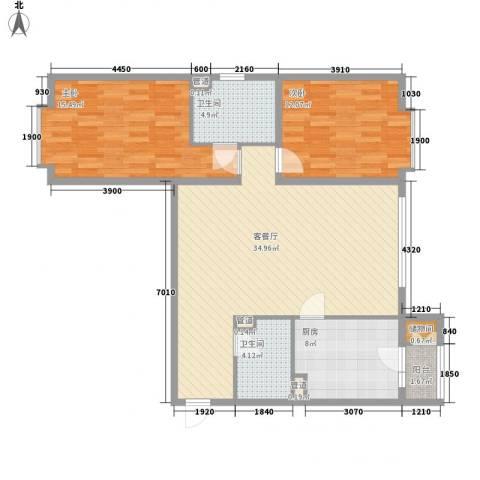 馨鑫嘉园2室1厅2卫1厨115.00㎡户型图